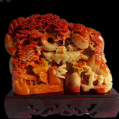 New Chinese ShouShan Stone Hand-Carved landscape Panasonic old man people Statue