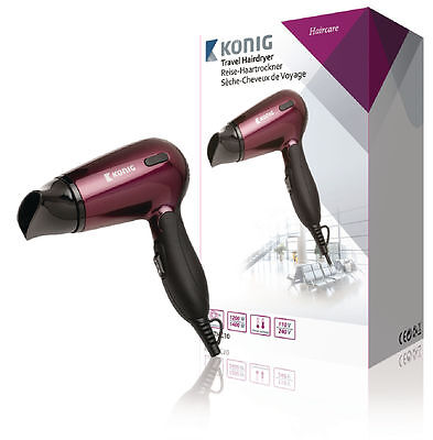 Konig Travel Hairdryer 1400 W Burgundy/Black