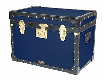 NAVY BLUE Traditional British Mossman Boarding School Stool Box Storage Trunk