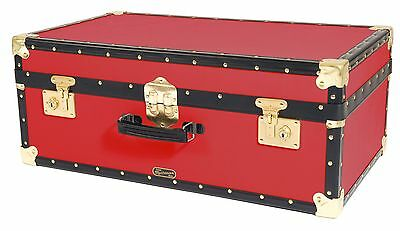 "RED Traditional British Mossman Made Vintage 30"" Attache Luggage Storage Trunk"
