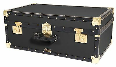 "BLACK Traditional British Mossman Made Vintage 30"" Attache Luggage Storage Trunk"