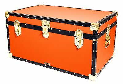 "ORANGE Traditional British Mossman Made 33"" Storage Otterman Trunk Toy Box Chest"