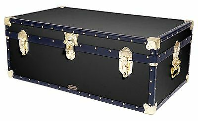 "BLACK Traditional British Mossman Made 36"" Steamer Boarding School Luggage Trunk"