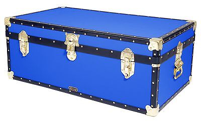 "BLUE Traditional British Mossman Made 36"" Steamer Boarding School Luggage Trunk"