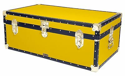 "YELLOW Traditional British Mossman 36"" Steamer Boarding School Luggage Trunk"