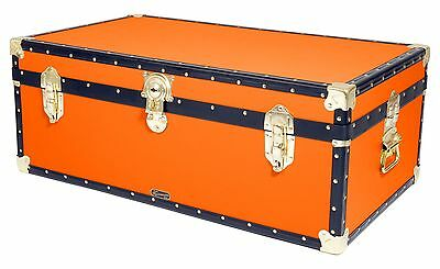 "ORANGE Traditional British Mossman 36"" Steamer Boarding School Luggage Trunk"