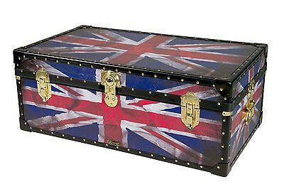 "UNION JACK FLAG British Mossman Made 36"" Steamer Boarding School Luggage Trunk"