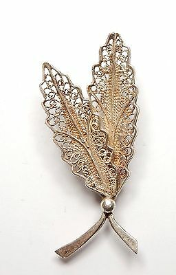 Vintage Brooch Filigree Leaves 925 Sterling Silver 5.2g