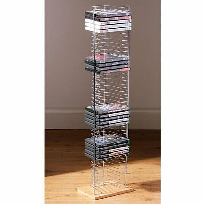 Tower - Free Standing Dvd Storage Rack Chrome Silver