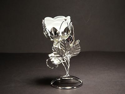 Metal flower shaped tea light holder / stand with glass , silver color #9