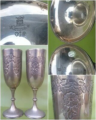 Coppe Sheffield  Inghilterra Punzonati Cups Goblets Sheffield England Punched