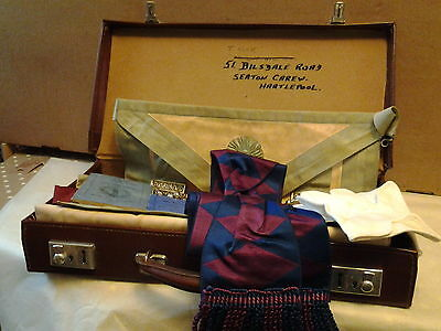 Masonic lodge leather case and contents