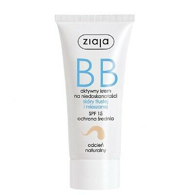Ziaja BB Active Cream Imperfections Oily Mixed Skin Natural Shade SPF15 50ml