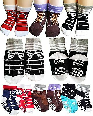 BSLINO Assorted 6 Pairs 12-24 Months Baby Boy Toddler Socks Non-Skid Anti Slip +