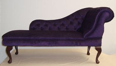 Chaise Longue in a Deep Purple Soft Chenille Fabric NEW