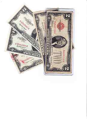 1928-1963 $2 Dollar Red Seal Note $2 Bill  Lot of 2 Currency/old red notes