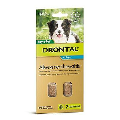 Drontal ALL WORMER CHEWABLE Suitable For Medium Dogs *German Brand- 2 Or 5Pieces