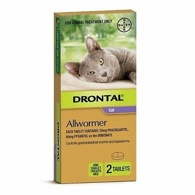 Drontal ALL WORMER TABLETS For Cats, Each Treats 4Kg*German Brand- 2 Or 4 Pieces