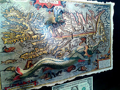 3-D Sea Serpent Map Poster Vintage postcard Leather feel  11x17