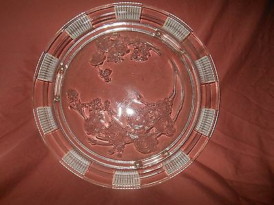 """1935-39 Federal Glass 11.5"""" Footed Cake Plate """"sharon-Clear"""" W/cabbage Roses"""