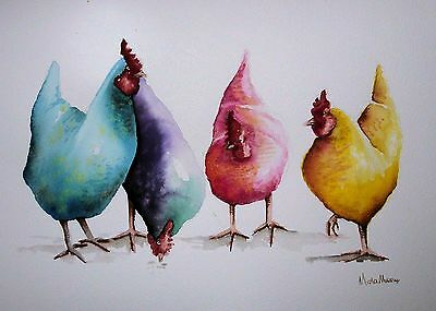 """*CHICKENS* ORIGINAL ART A4 Watercolour 9 x 12"""" Signed Painting by Maria Moss"""