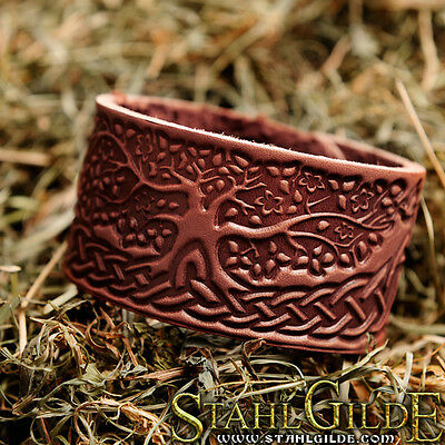 Leather Bracelet Cuff Wristband Knotwork  Vikings Nordic Celtic Tree design