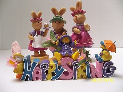 """Lot of 4 Easter Bunny Figurines Resin & Happy Spring Sign Unmarked 3""""-5"""" Tall"""