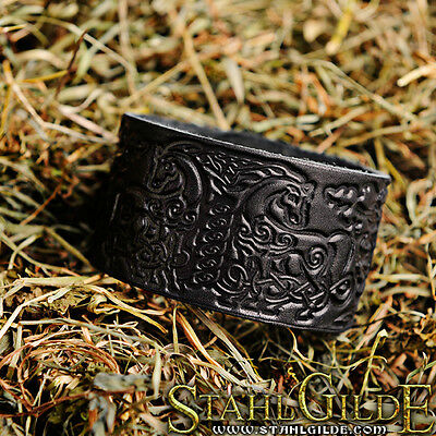 Carving Leather Bracelet Cuff Wristband Knotwork  Vikings Nordic Horses design