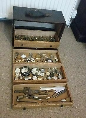 Vintage Watchmakers Tool Chest & Tools & Watch Parts Engineers Cabinet