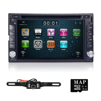 Double 2 DIN GPS Navigation Car Stereo DVD Player Bluetooth MP3 Radio AUX Camera