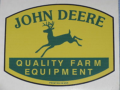 "JOHN DEERE LOGO 5.75"" QFE 1950's PRINTED IN USA DECAL STICKER TRACTOR GATOR"