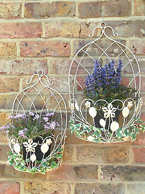 S/2 Antique Wall Mounted Herb Flower Planter Garden Plant Box Buckets Pots Tubs