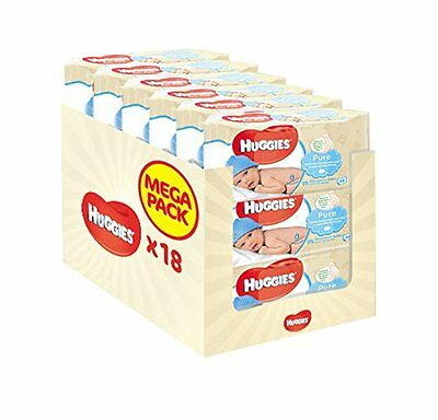 Huggies Pure Baby Wipes - 18 Packs (1008 Wipes Total) UK SELLER