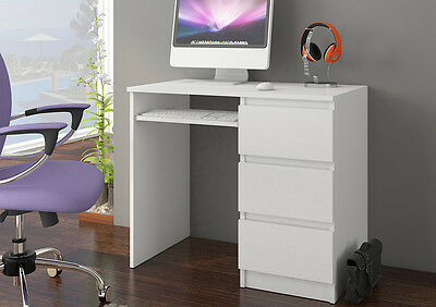 Computer Desk Modern Workstation White Office Table 3 Drawers PC Unit