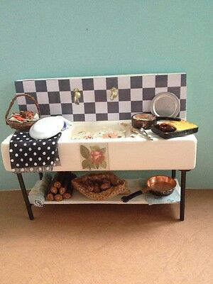 1/12 Dolls House Butler Sink, With Many Handmade Accessories, + Scenic Water