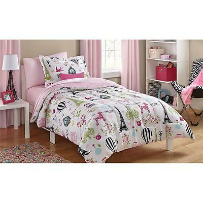PINK BLACK WHITE GIRLS PARIS EIFFEL TOWER FRENCH POODLE Comforter Bed in Bag SET