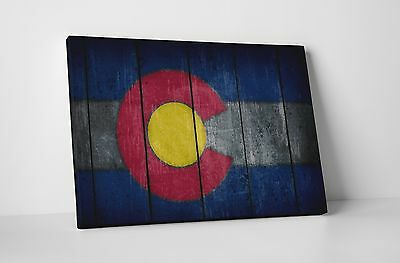 Vintage Colorado State Flag Gallery Wrapped Canvas Wall Art