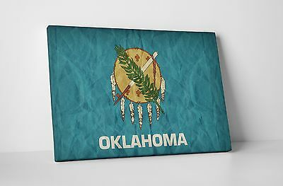 Vintage Oklahoma State Flag Gallery Wrapped Canvas Wall Art