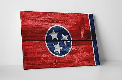 Vintage Tennessee State Flag Gallery Wrapped Canvas Wall Art