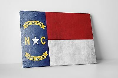 Vintage North Carolina State Flag Gallery Wrapped Canvas Wall Art