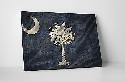 Vintage South Carolina State Flag Gallery Wrapped Canvas Wall Art