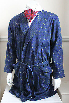 vintage St Michael blue paisley dressing gown smoking jacket 60s mens L 42""