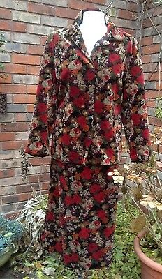 ANGELA GORE vintage floral velvet skirt and jacket suit