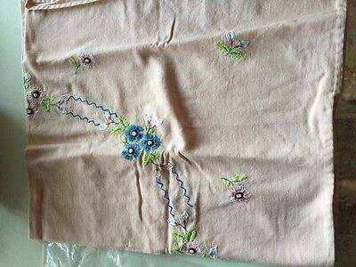 """36"""" Square Vintage Hand Embroidered Pink Table Cover"""