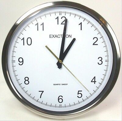 "12"" Silver Large Round Wall Clock Silent Operation Office Home School Wall Clock"