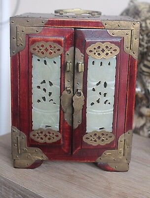 Antique Chinese Wood & Brass Jewellery Box With Jade Inserts