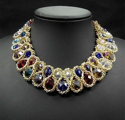 Women 2017 Vintage Collar Gold Chain Double Crystal Bead Choker Necklaces & Pend