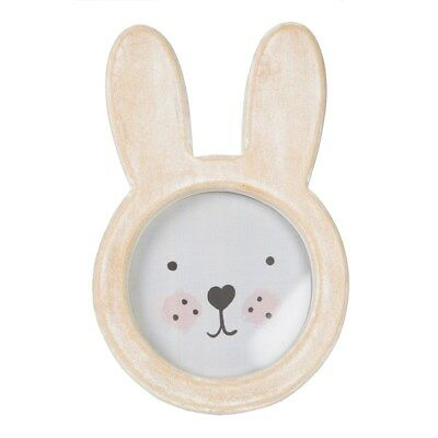 Bunny Face Rustic Wooden Distressed Cute Beige Brown Freestanding Photo Frame