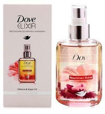 Dove Elixir Nourished Shine Hair Oil, Hibiscus and Argan Oil 90ml