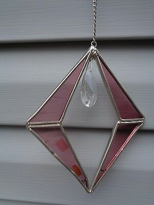 "Diamond Shaped Metal & Purple Glass w Dangle Faux Gem Clear 6"" Chime Suncatcher"